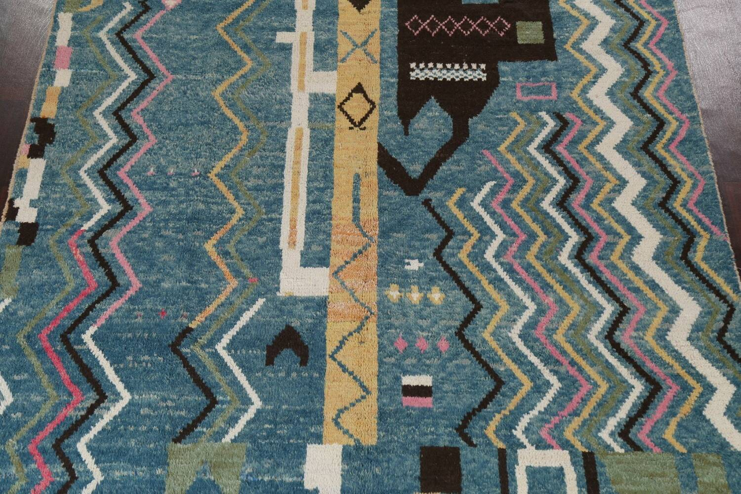 Wool Moroccan Abstract Area Rug 8x11 image 4