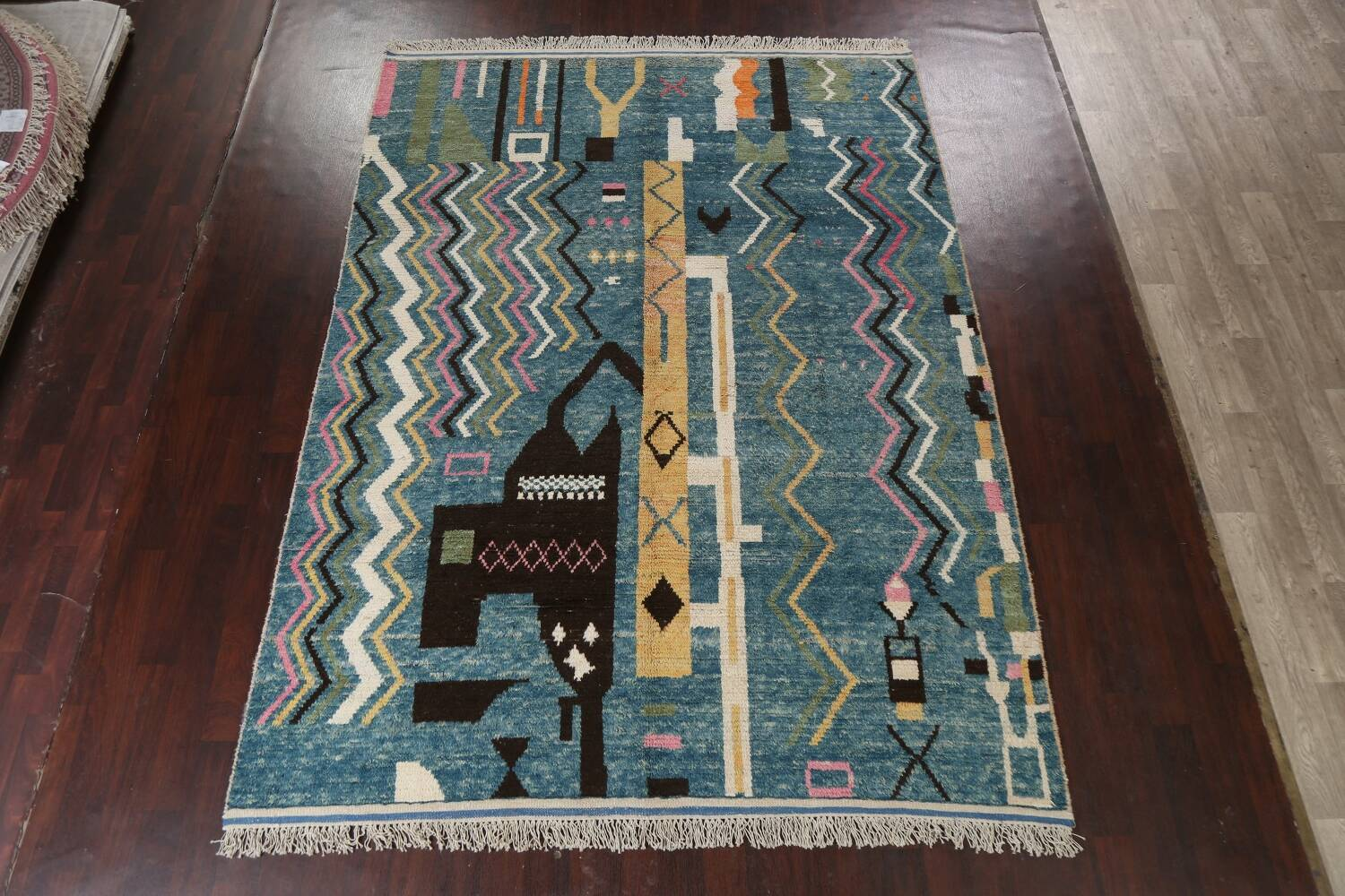 Wool Moroccan Abstract Area Rug 8x11 image 16