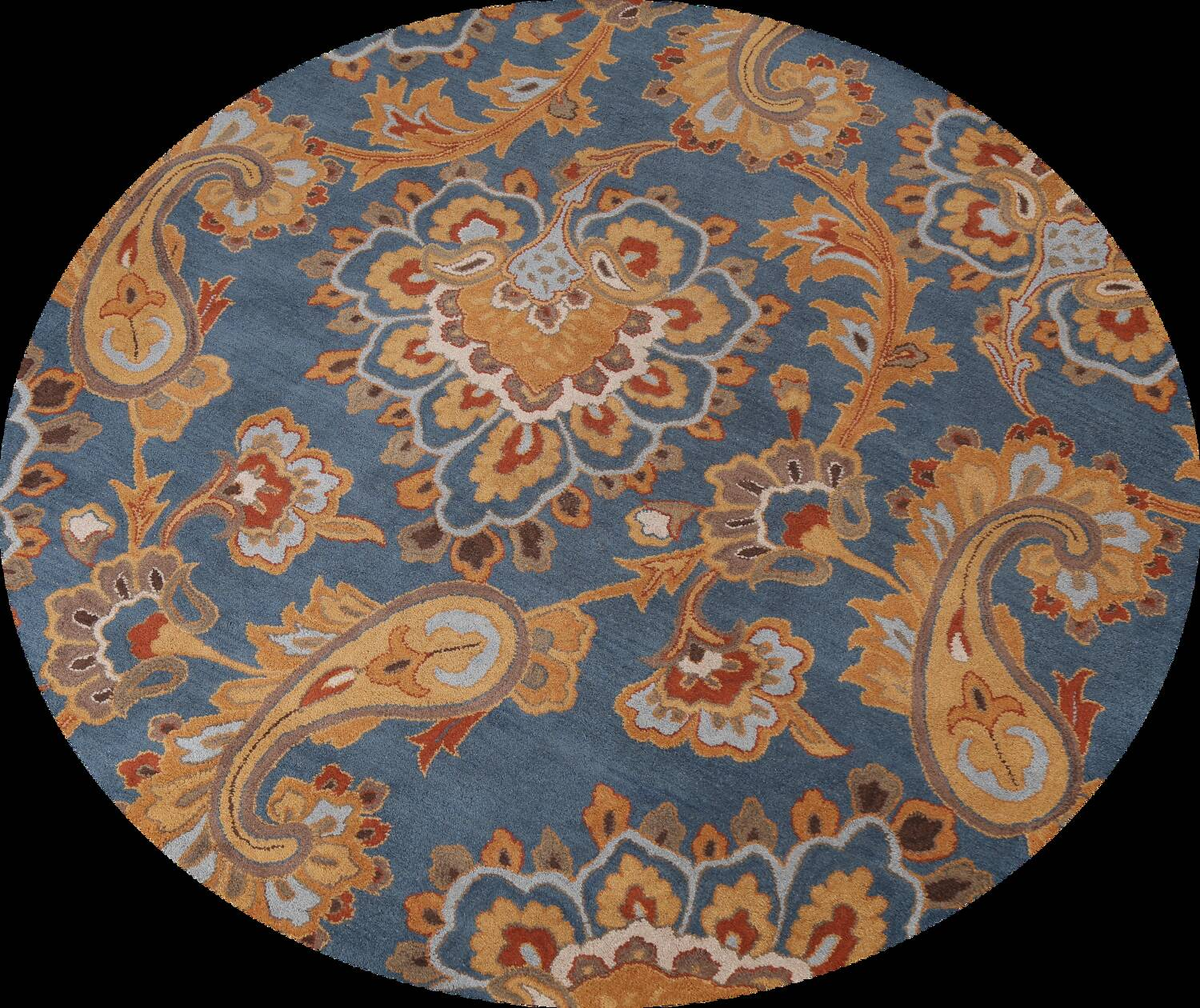 Light Blue Floral Hand-Tufted Round Rug 8x8 image 1