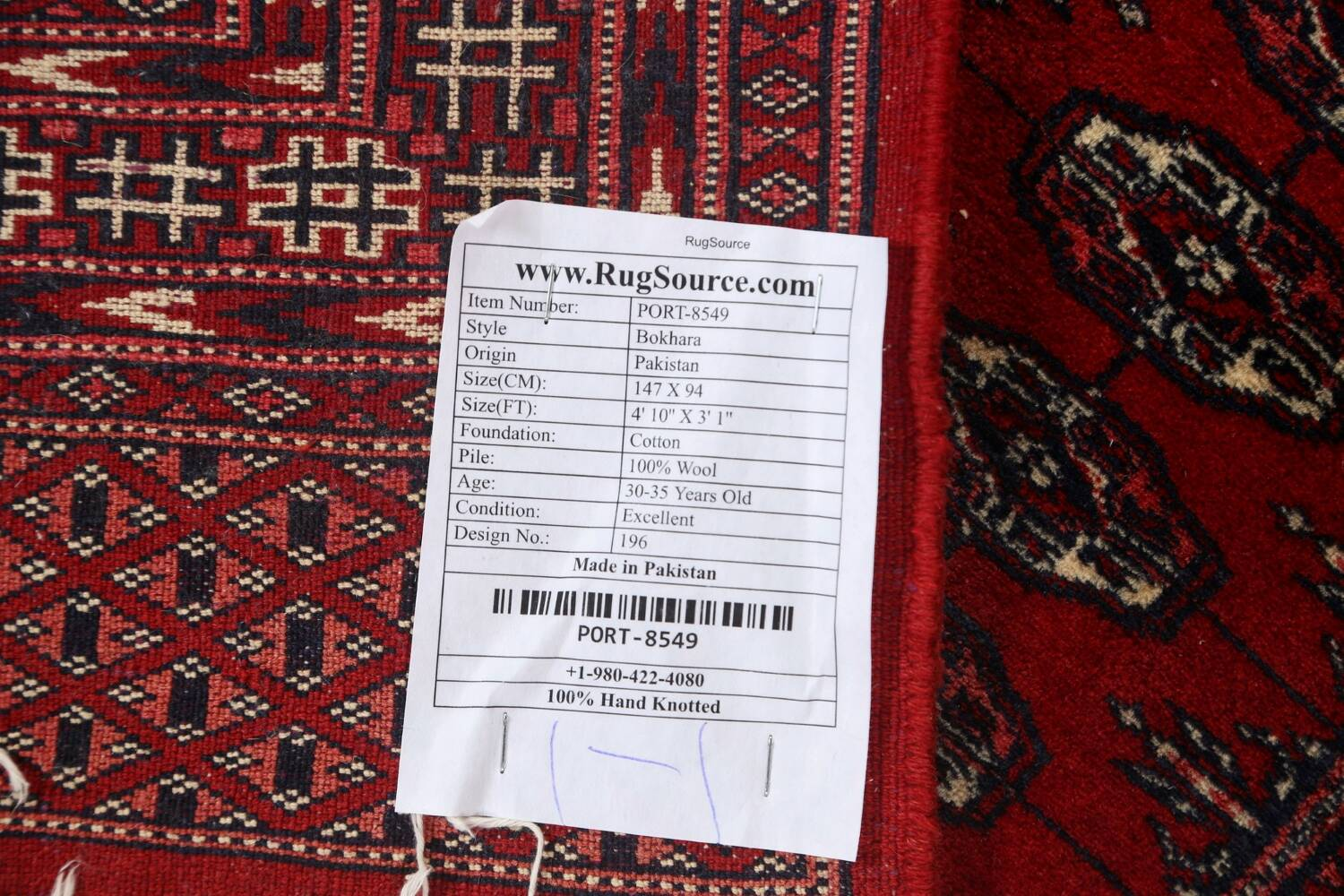 Red Bokhara Wool Area Rug 3x5 image 16