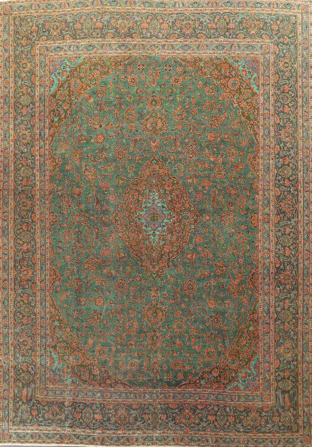 Antique Over-Dye Kashan Persian Area Rug 9x12 image 1