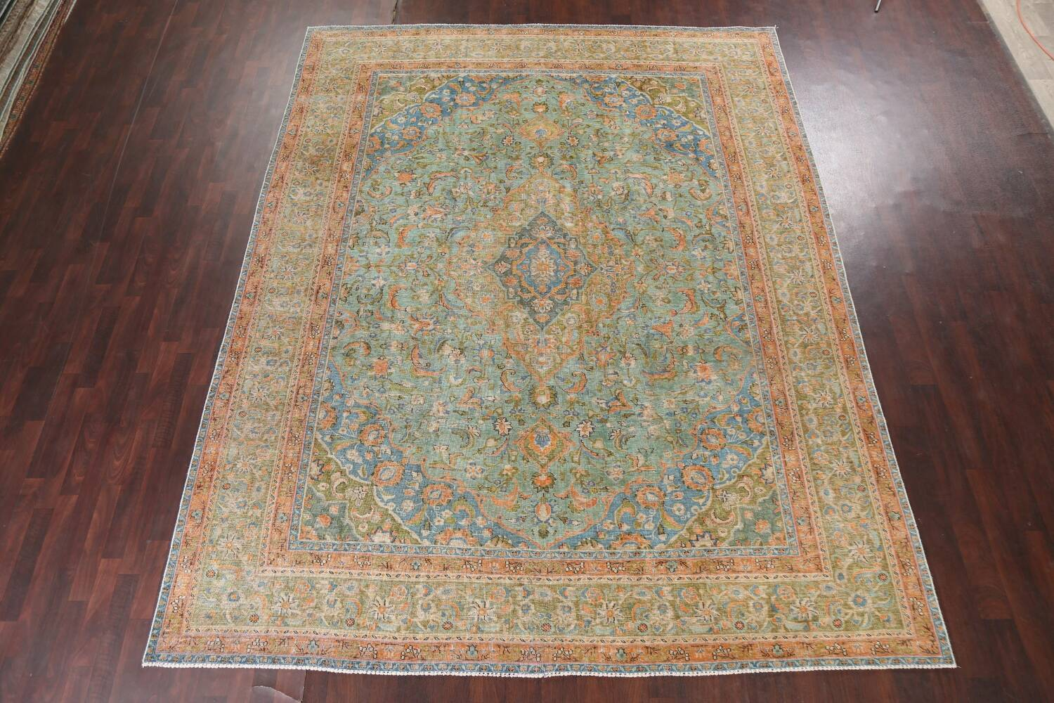 Antique Distressed Over-Dye Kashan Persian Area Rug 9x12 image 3