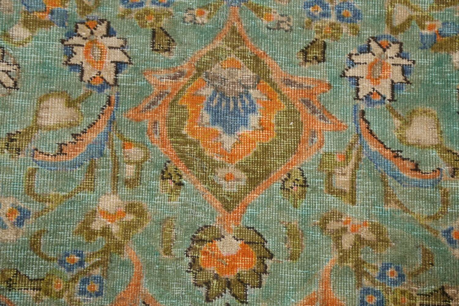 Antique Distressed Over-Dye Kashan Persian Area Rug 9x12 image 9
