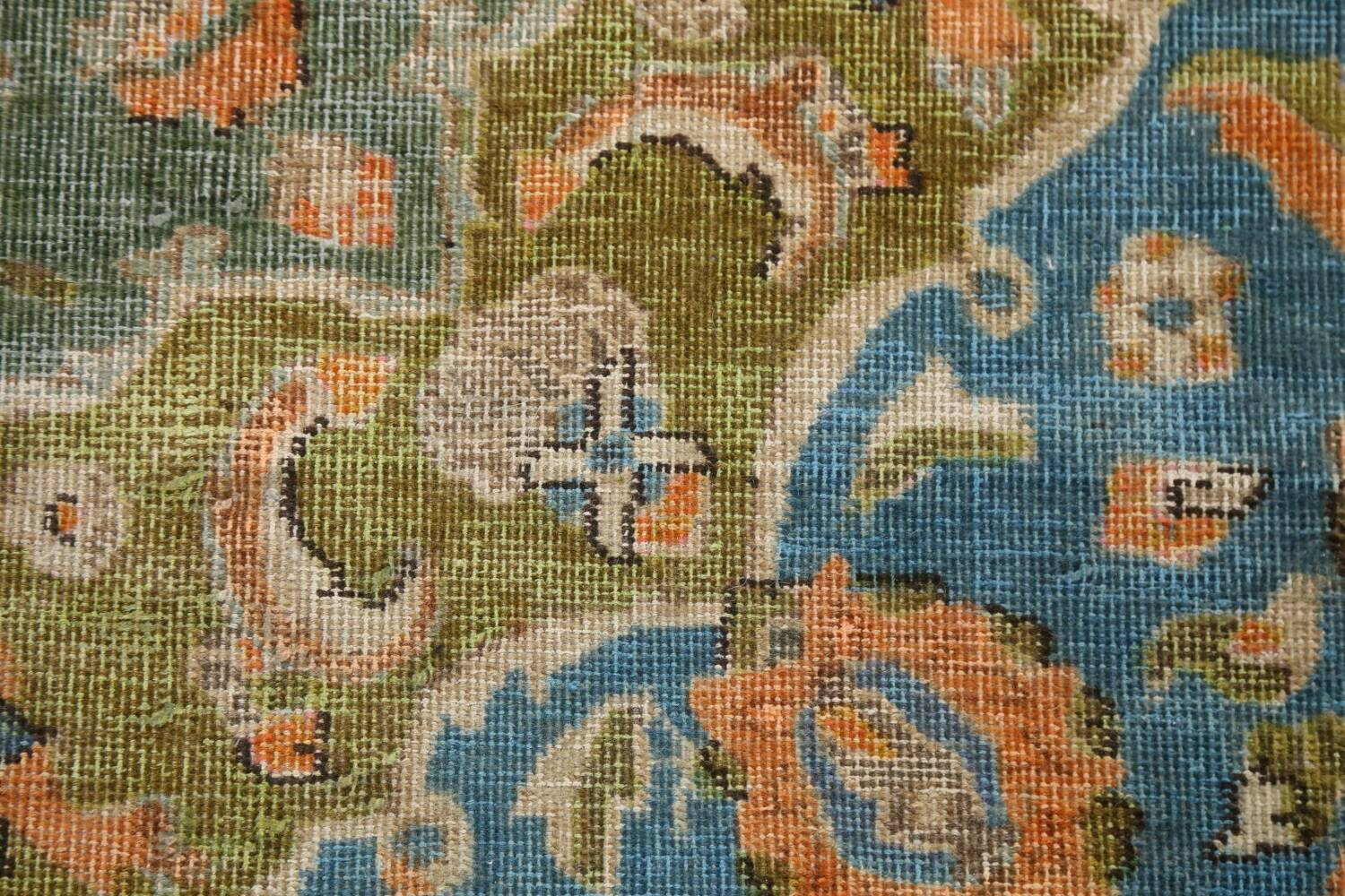 Antique Distressed Over-Dye Kashan Persian Area Rug 9x12 image 11
