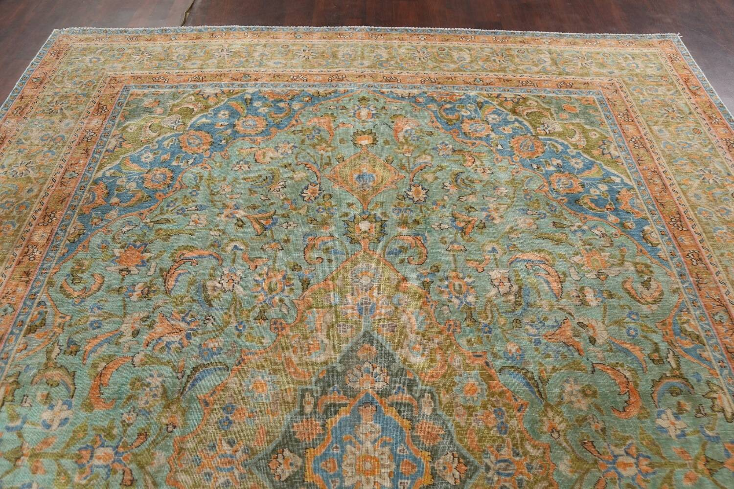 Antique Distressed Over-Dye Kashan Persian Area Rug 9x12 image 13