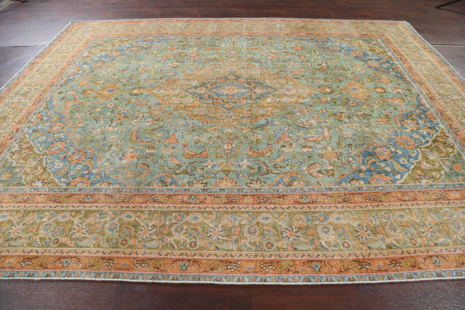 Antique Distressed Over-Dye Kashan Persian Area Rug 9x12 image 15