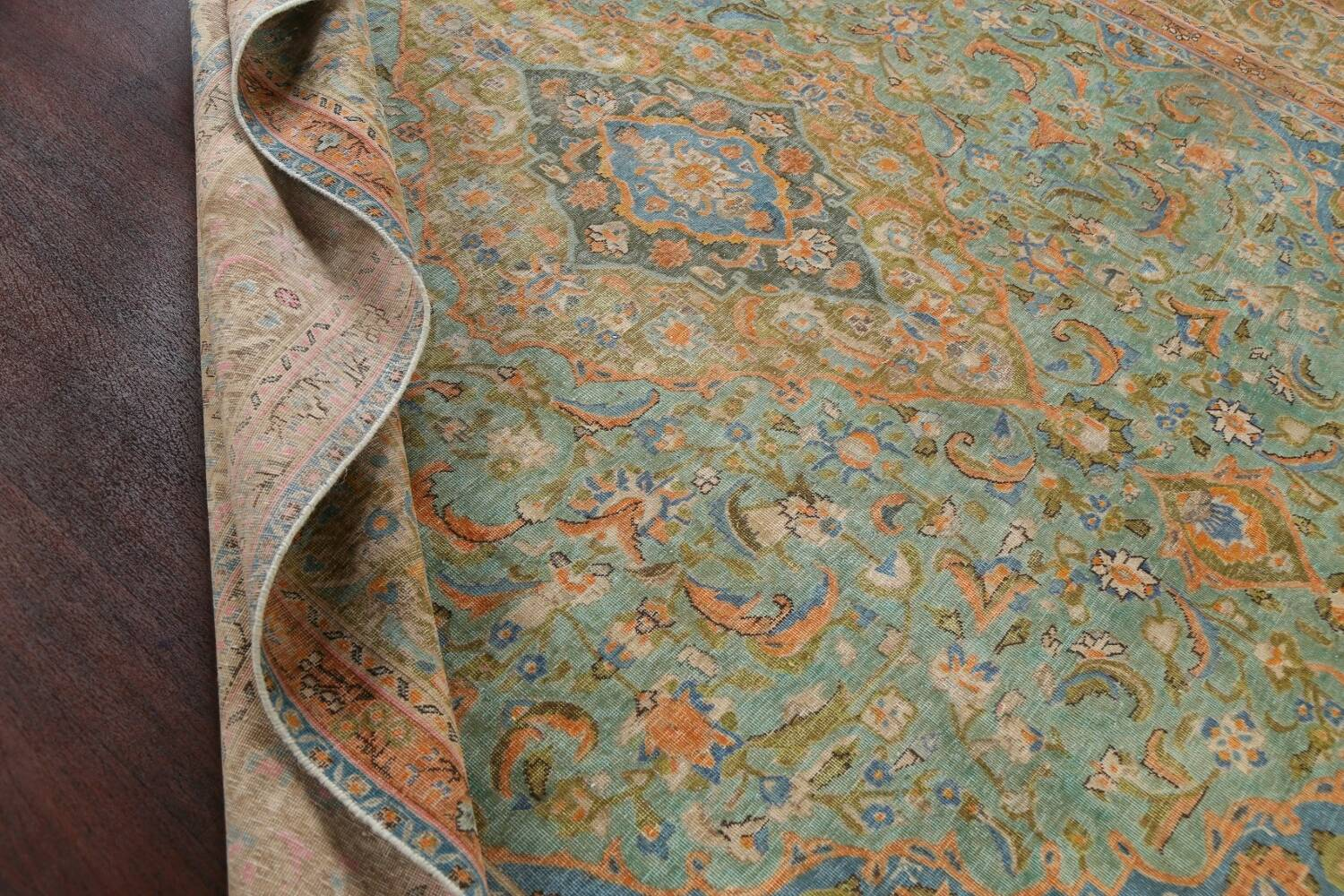 Antique Distressed Over-Dye Kashan Persian Area Rug 9x12 image 18