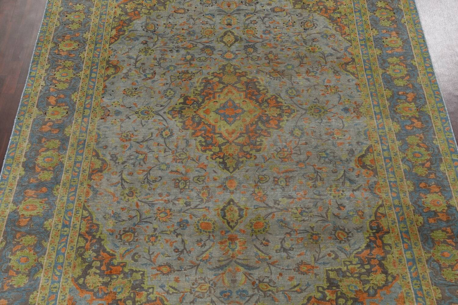 Distressed Over-Dye Kashan Persian Area Rug 9x12 image 4