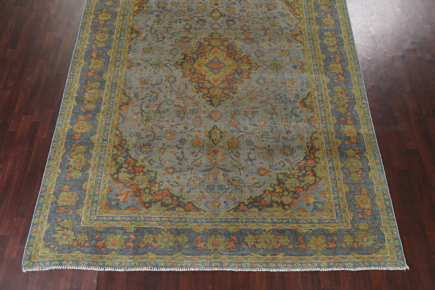 Distressed Over-Dye Kashan Persian Area Rug 9x12 image 6