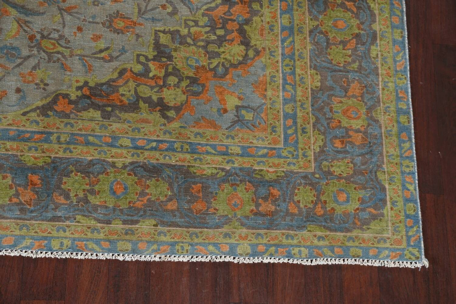 Distressed Over-Dye Kashan Persian Area Rug 9x12 image 7