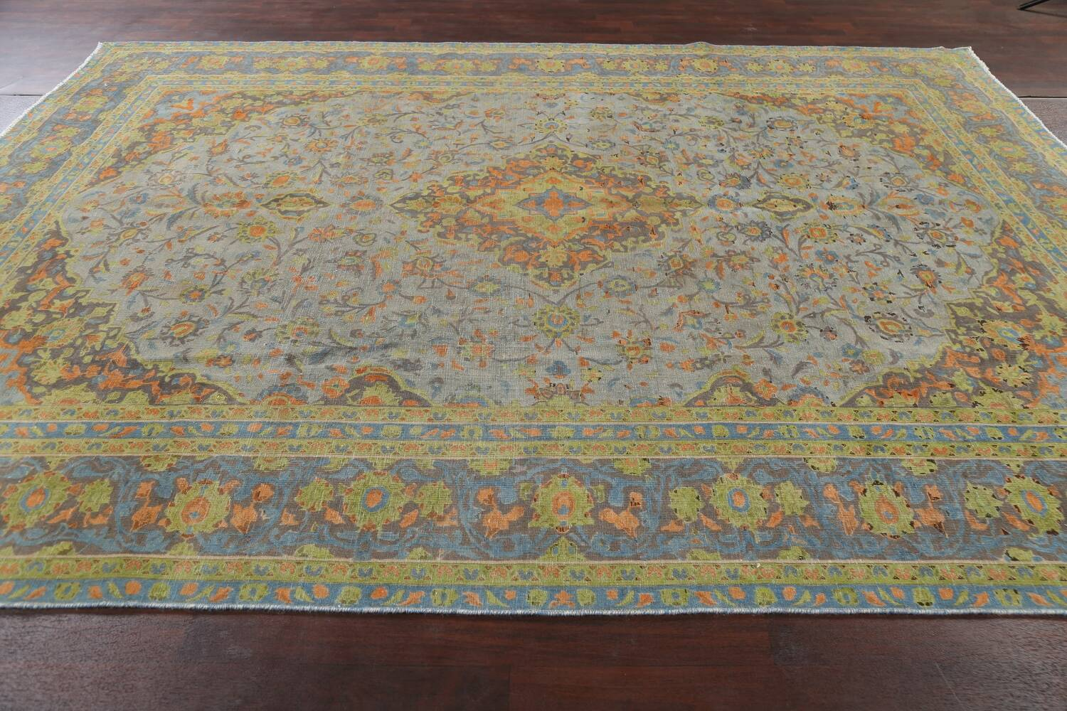 Distressed Over-Dye Kashan Persian Area Rug 9x12 image 15