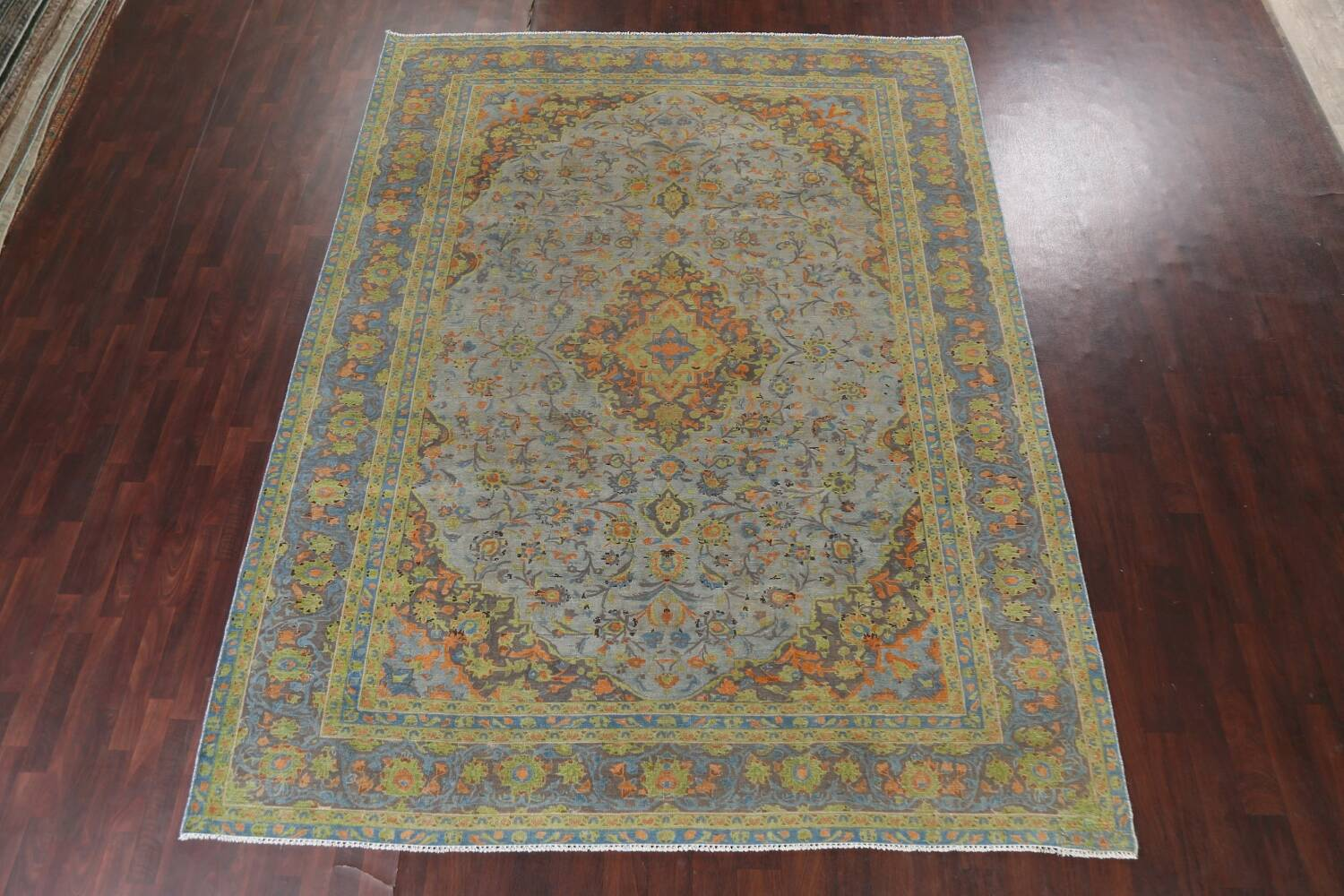 Distressed Over-Dye Kashan Persian Area Rug 9x12 image 16