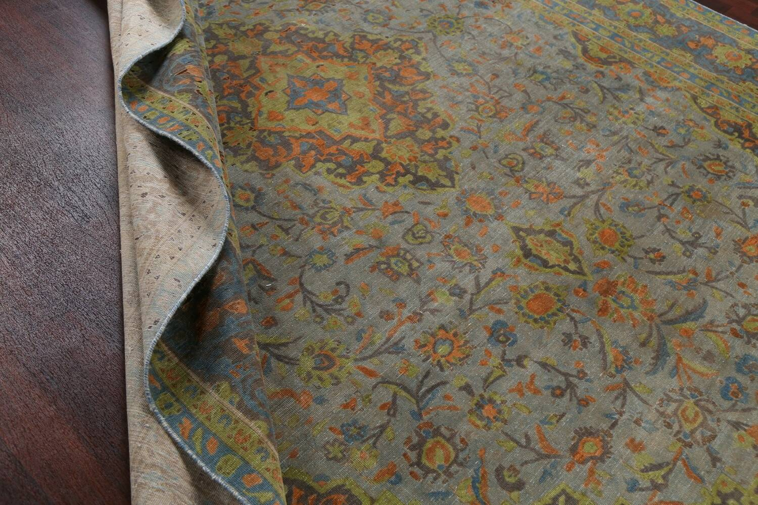 Distressed Over-Dye Kashan Persian Area Rug 9x12 image 18