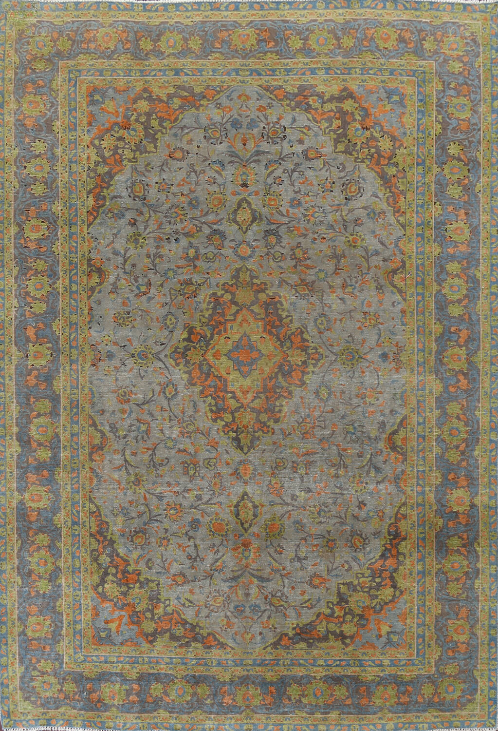 Distressed Over-Dye Kashan Persian Area Rug 9x12 image 1