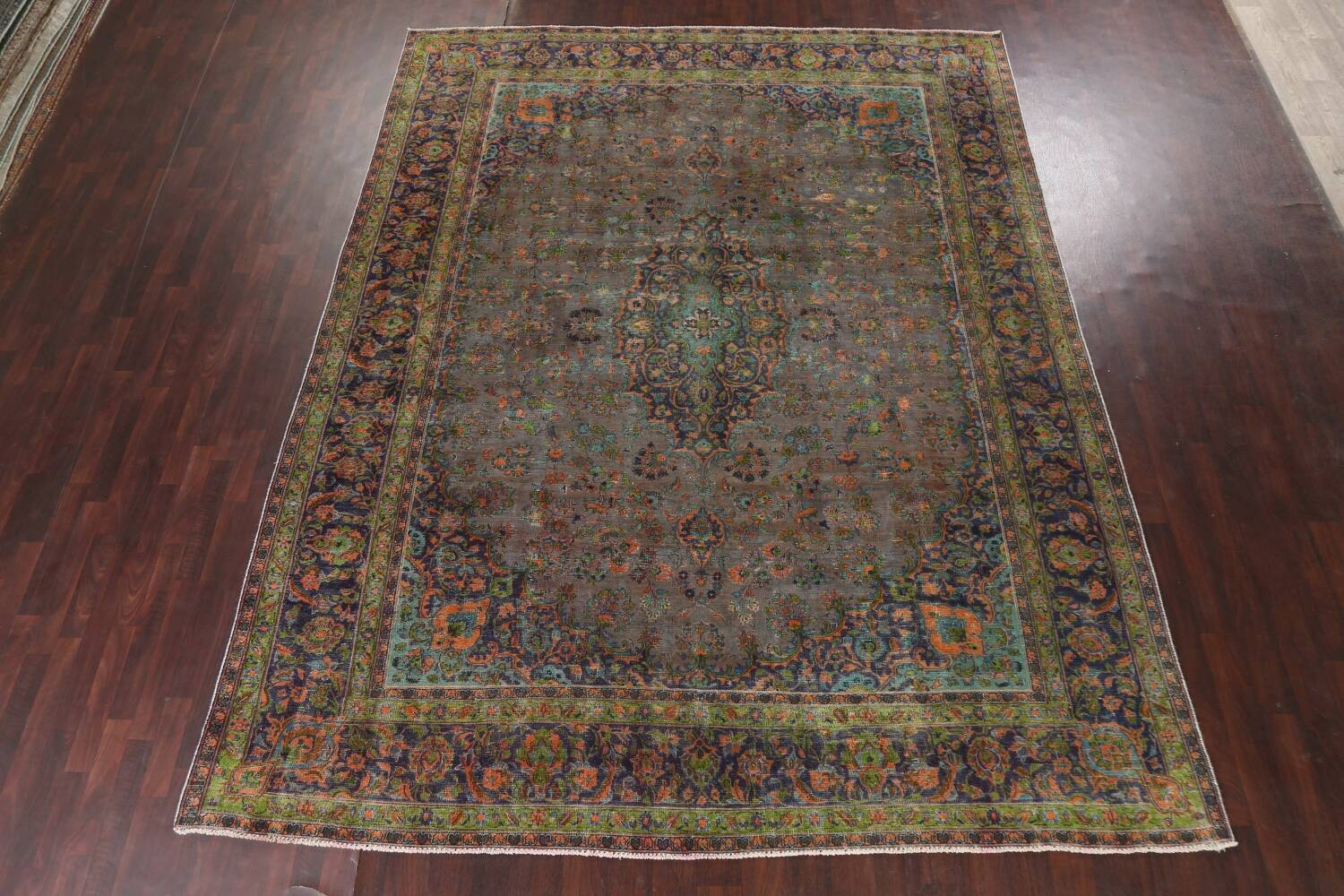 Distressed Over-Dye Kashan Persian Area Rug 10x13 image 3