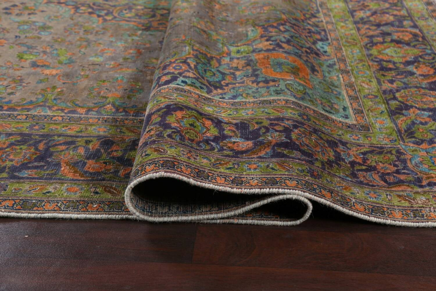 Distressed Over-Dye Kashan Persian Area Rug 10x13 image 12