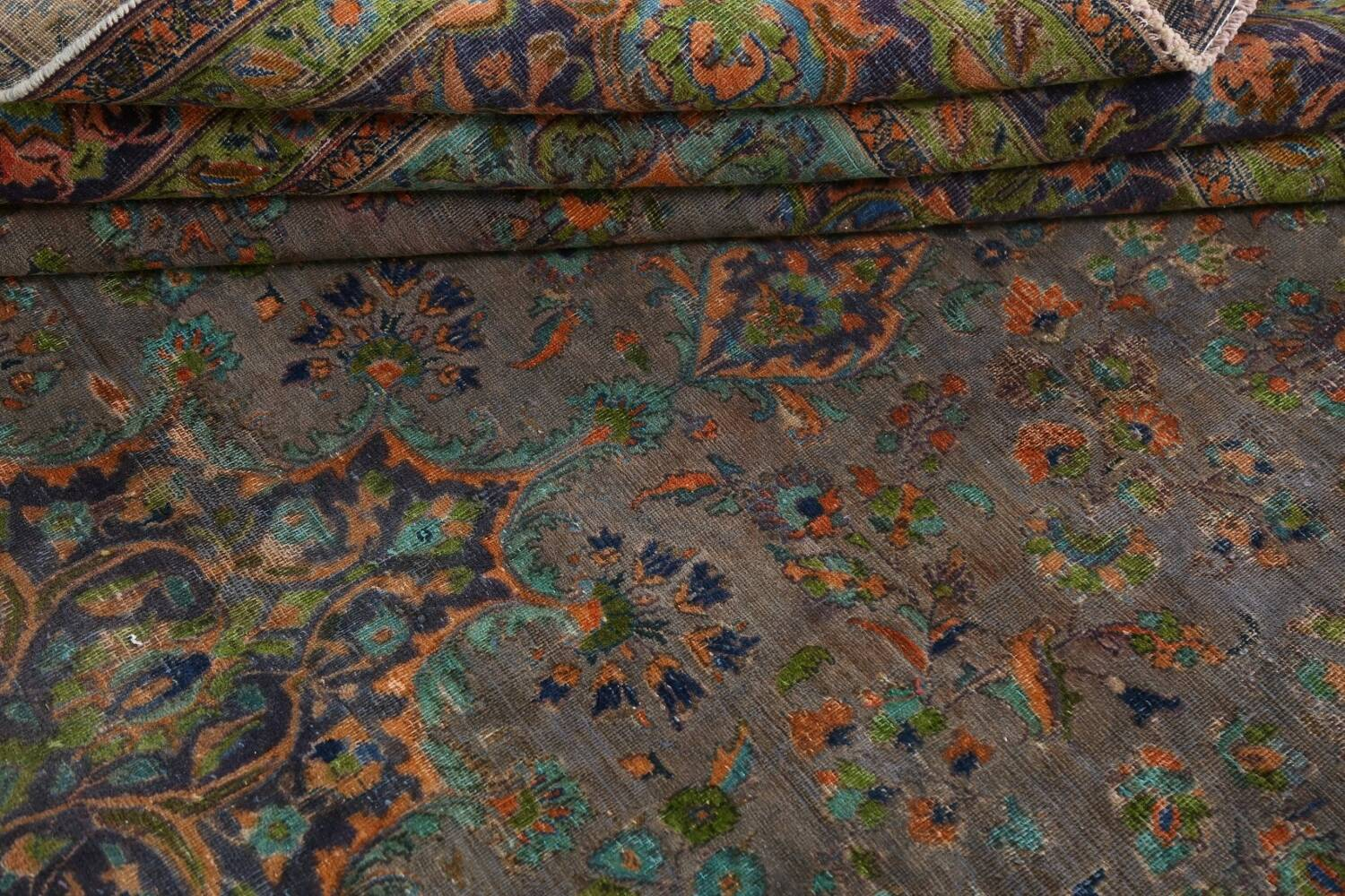 Distressed Over-Dye Kashan Persian Area Rug 10x13 image 17