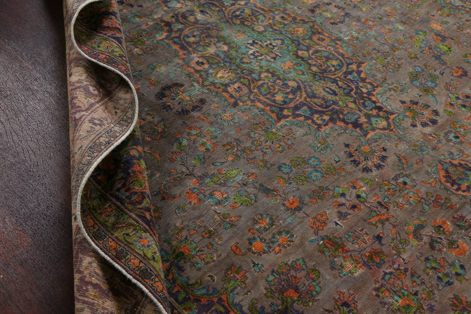 Distressed Over-Dye Kashan Persian Area Rug 10x13 image 18