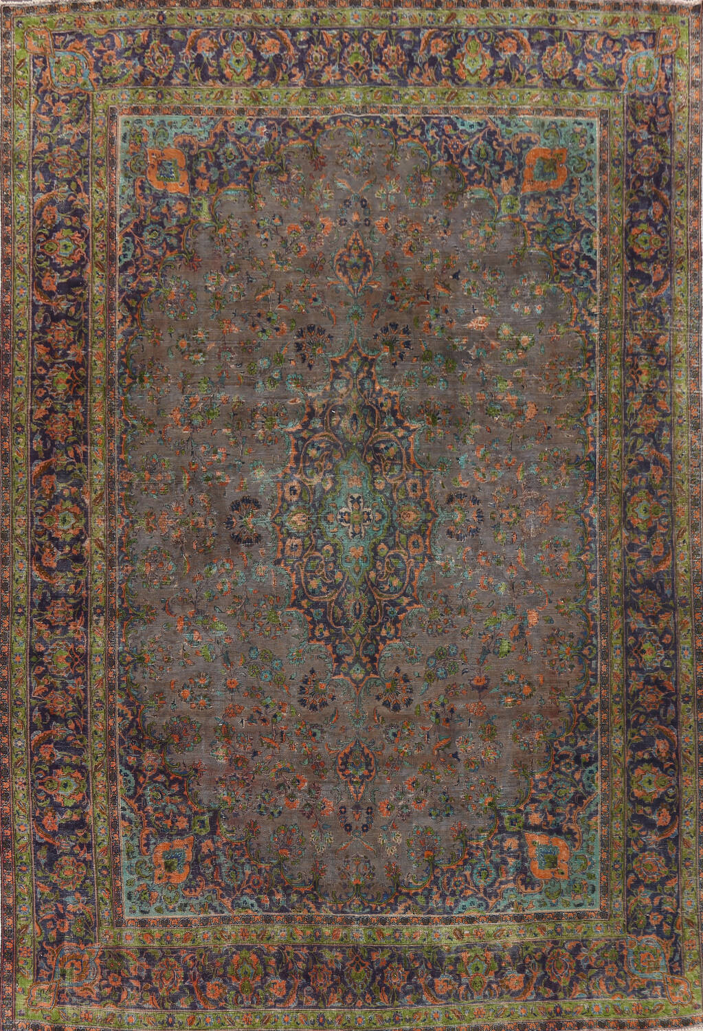 Distressed Over-Dye Kashan Persian Area Rug 10x13 image 1
