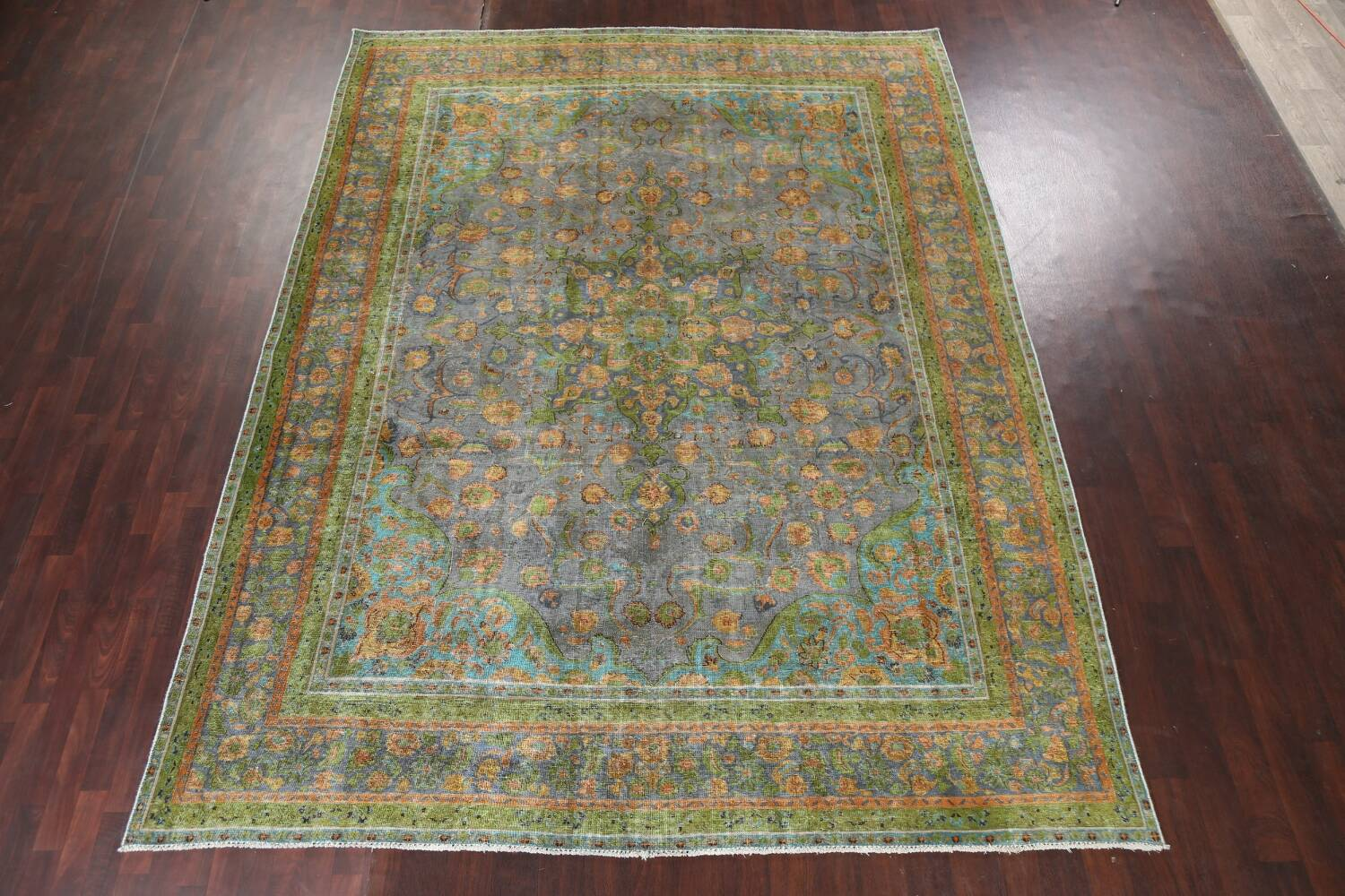 Antique Distressed Over-Dye Tabriz Persian Area Rug 9x12 image 3
