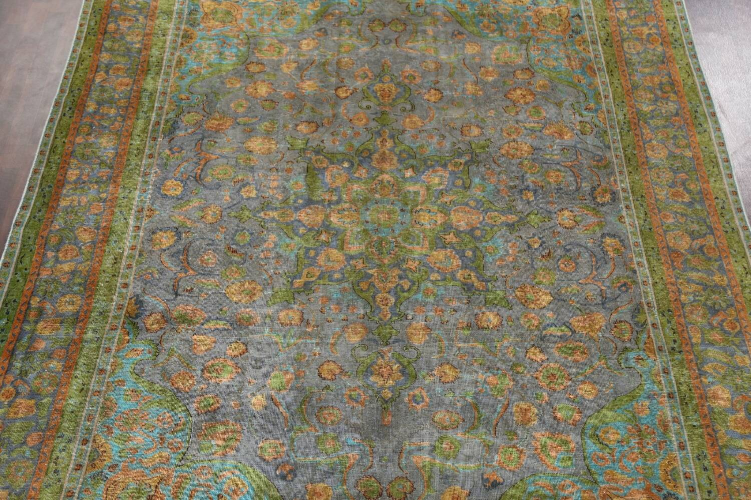 Antique Distressed Over-Dye Tabriz Persian Area Rug 9x12 image 4