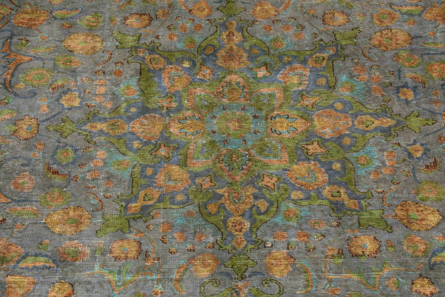 Antique Distressed Over-Dye Tabriz Persian Area Rug 9x12 image 5