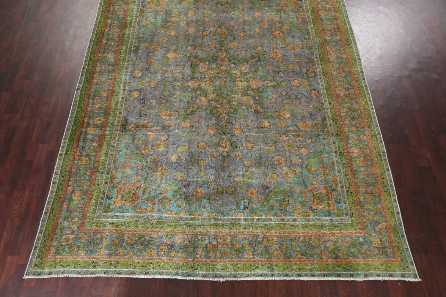 Antique Distressed Over-Dye Tabriz Persian Area Rug 9x12 image 6