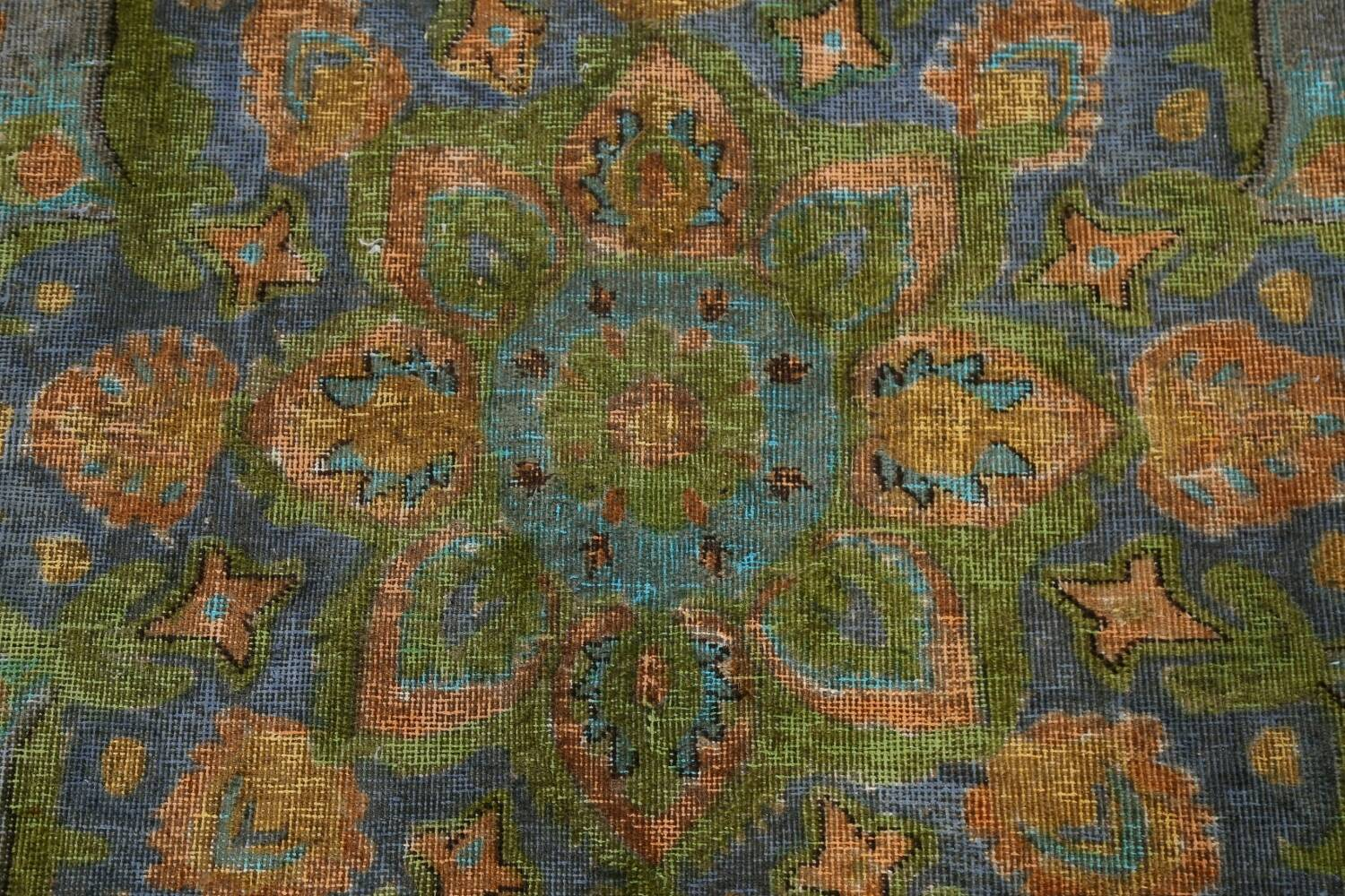 Antique Distressed Over-Dye Tabriz Persian Area Rug 9x12 image 10