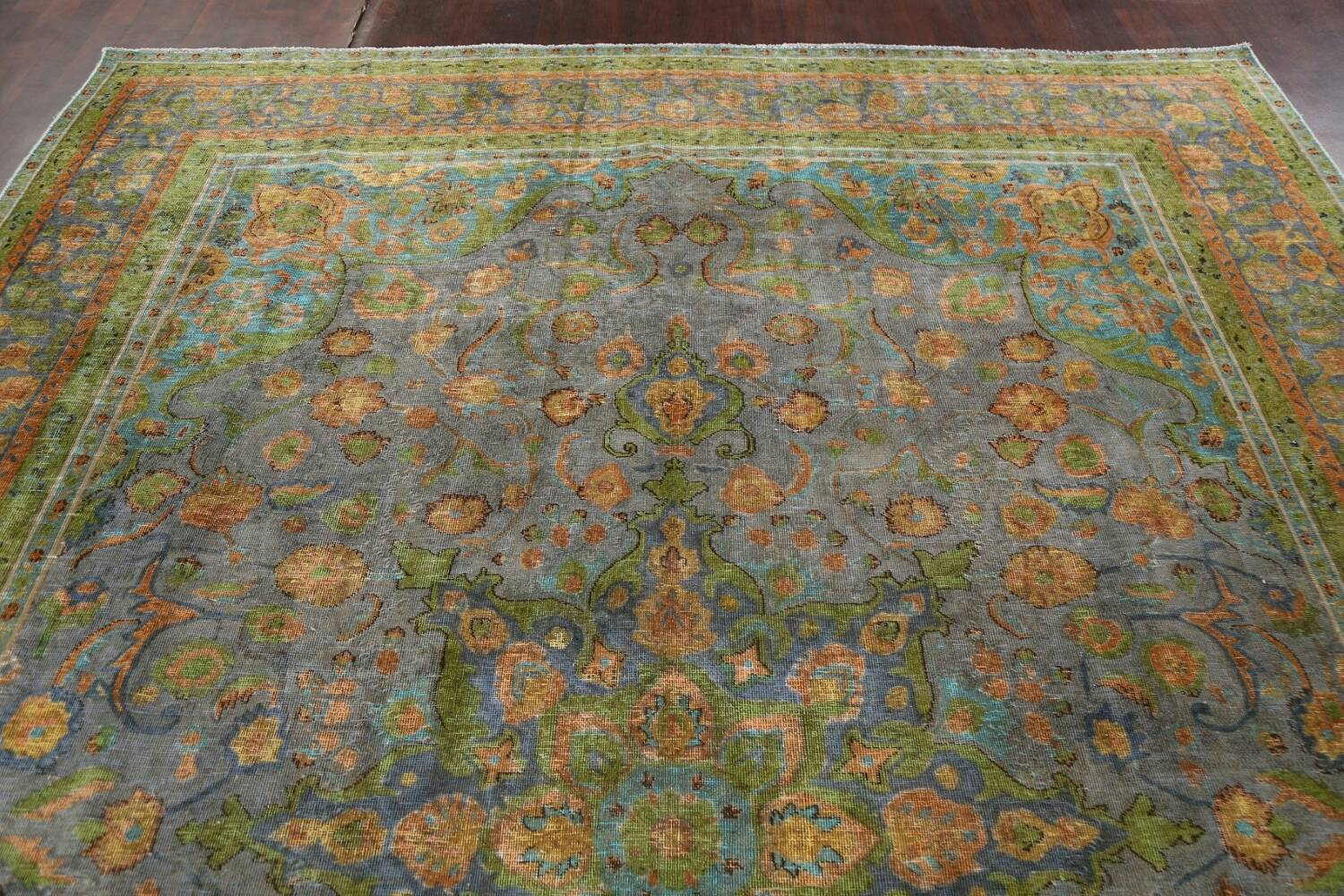 Antique Distressed Over-Dye Tabriz Persian Area Rug 9x12 image 13