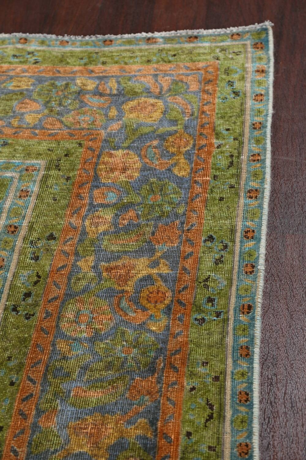 Antique Distressed Over-Dye Tabriz Persian Area Rug 9x12 image 14