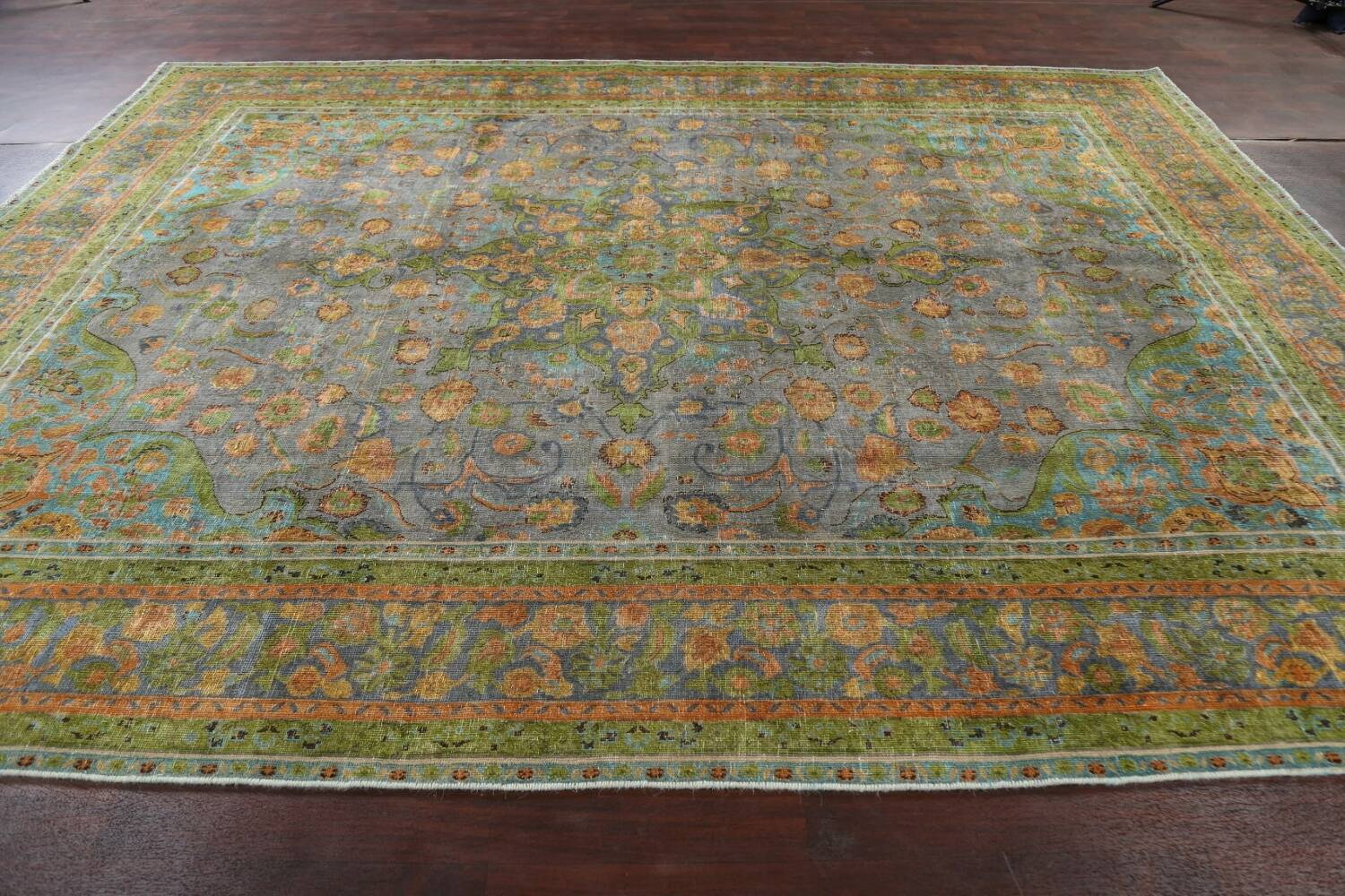 Antique Distressed Over-Dye Tabriz Persian Area Rug 9x12 image 15