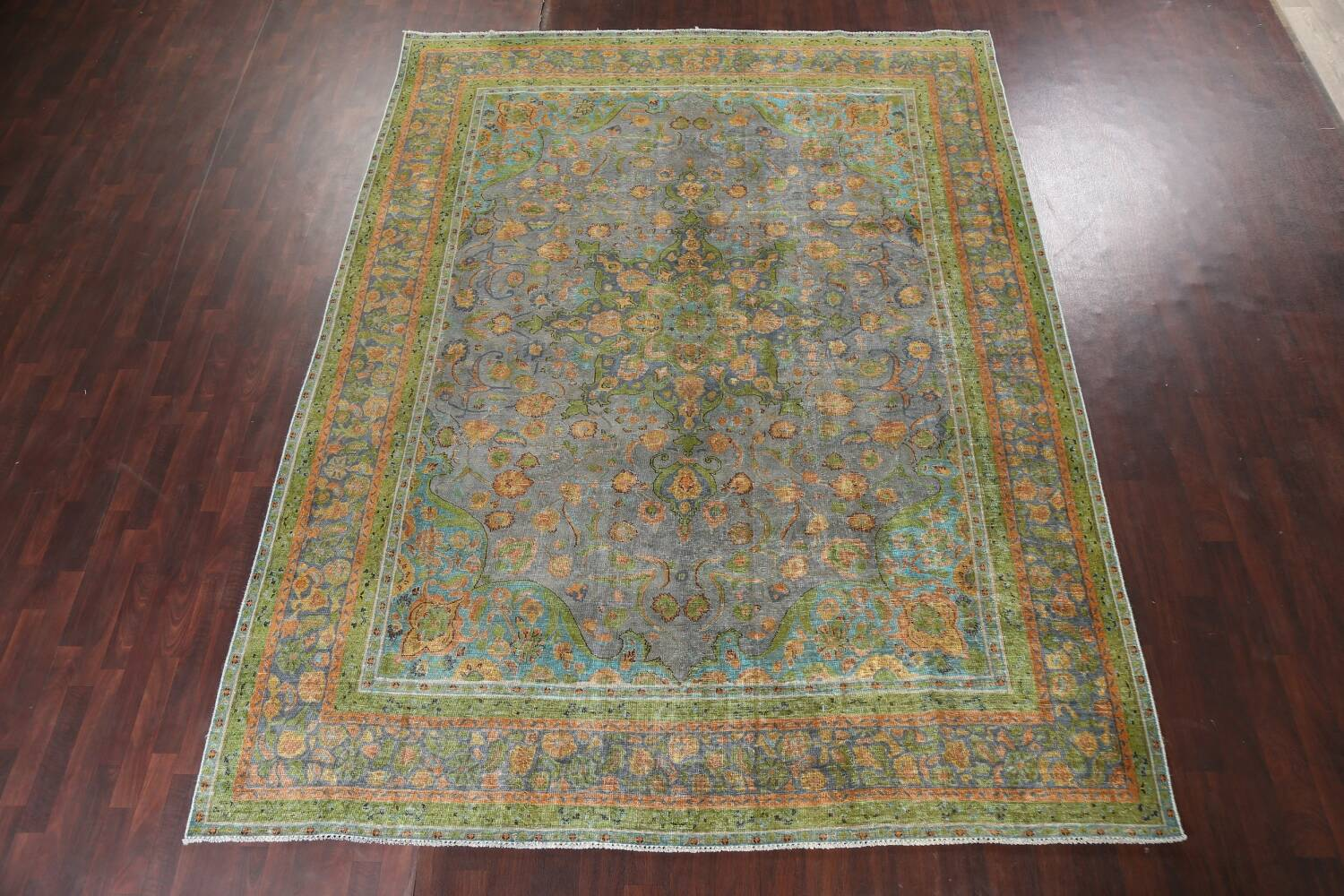 Antique Distressed Over-Dye Tabriz Persian Area Rug 9x12 image 16
