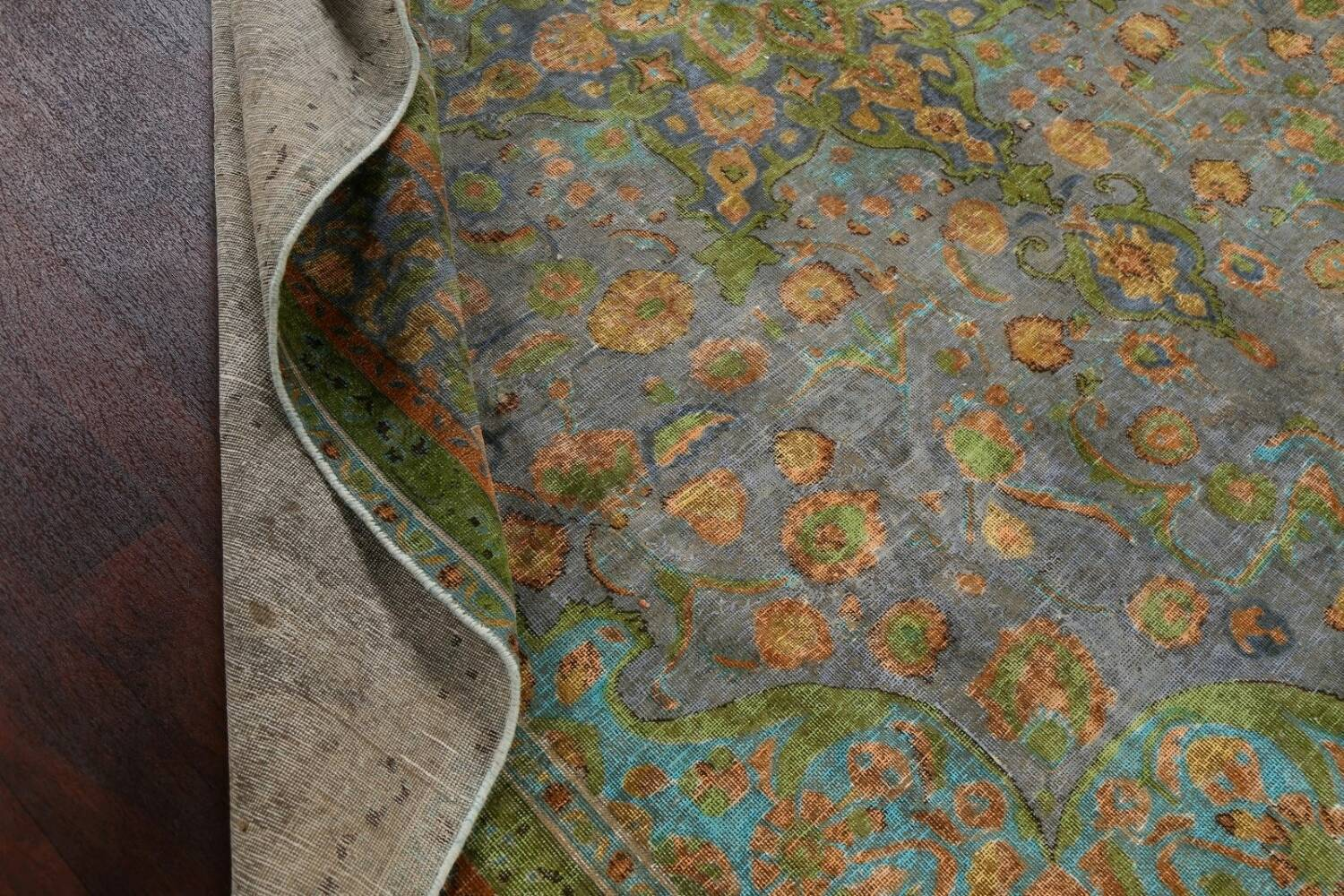 Antique Distressed Over-Dye Tabriz Persian Area Rug 9x12 image 18