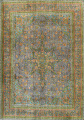 Antique Distressed Over-Dye Tabriz Persian Area Rug 9x12 image 1