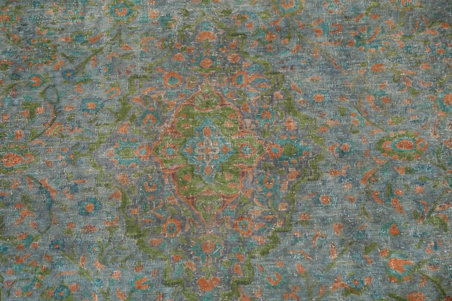 Antique Distressed Over-Dye Kashan Persian Area Rug 9x12 image 5