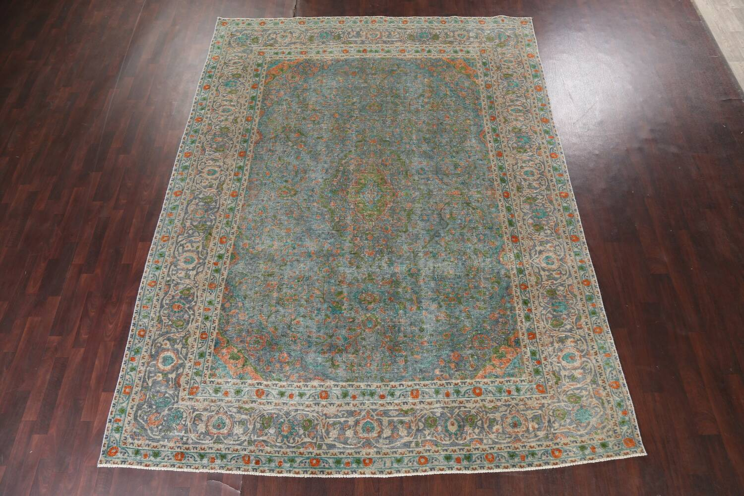 Antique Distressed Over-Dye Kashan Persian Area Rug 9x12 image 16
