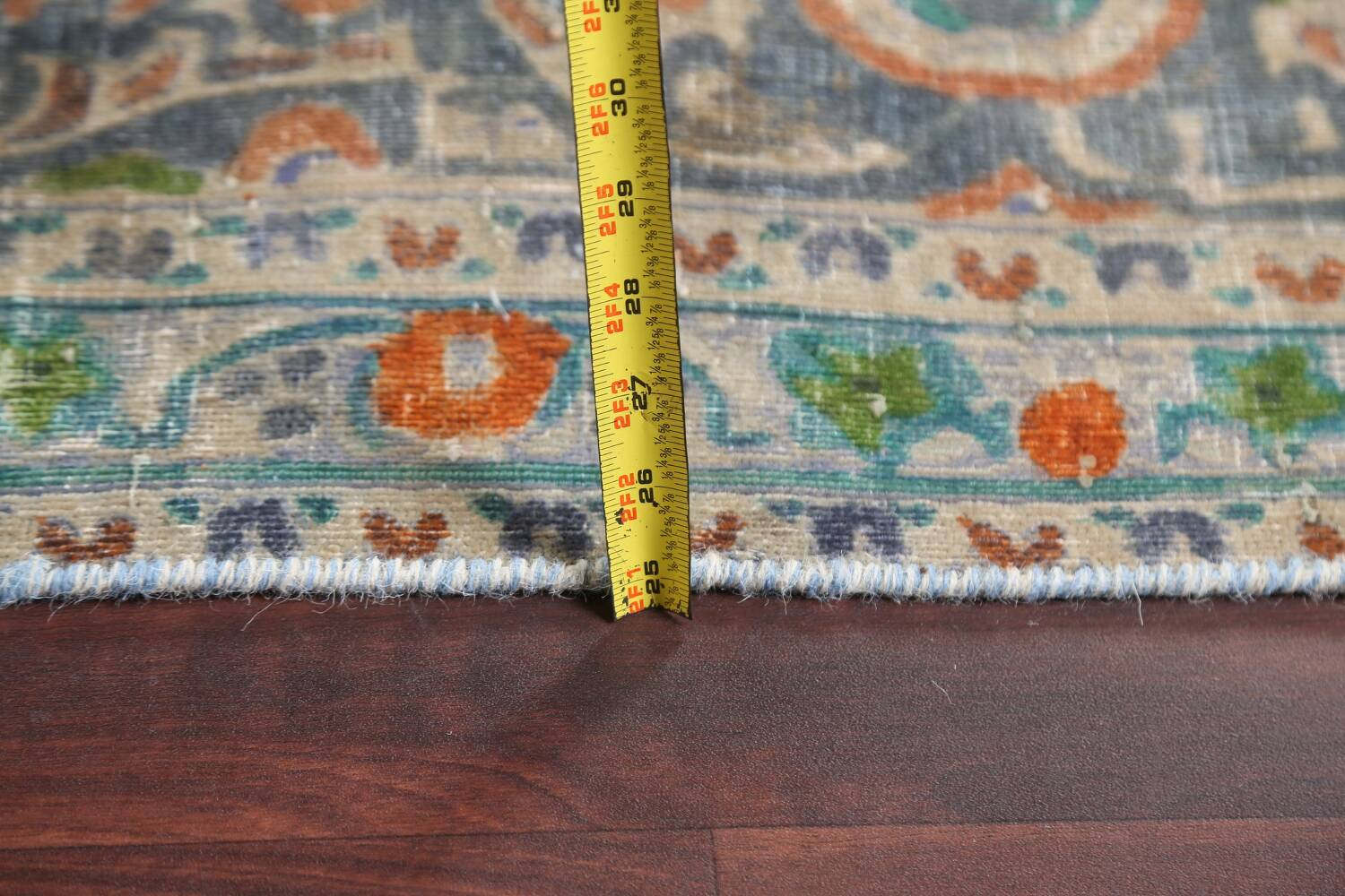 Antique Distressed Over-Dye Kashan Persian Area Rug 9x12 image 20