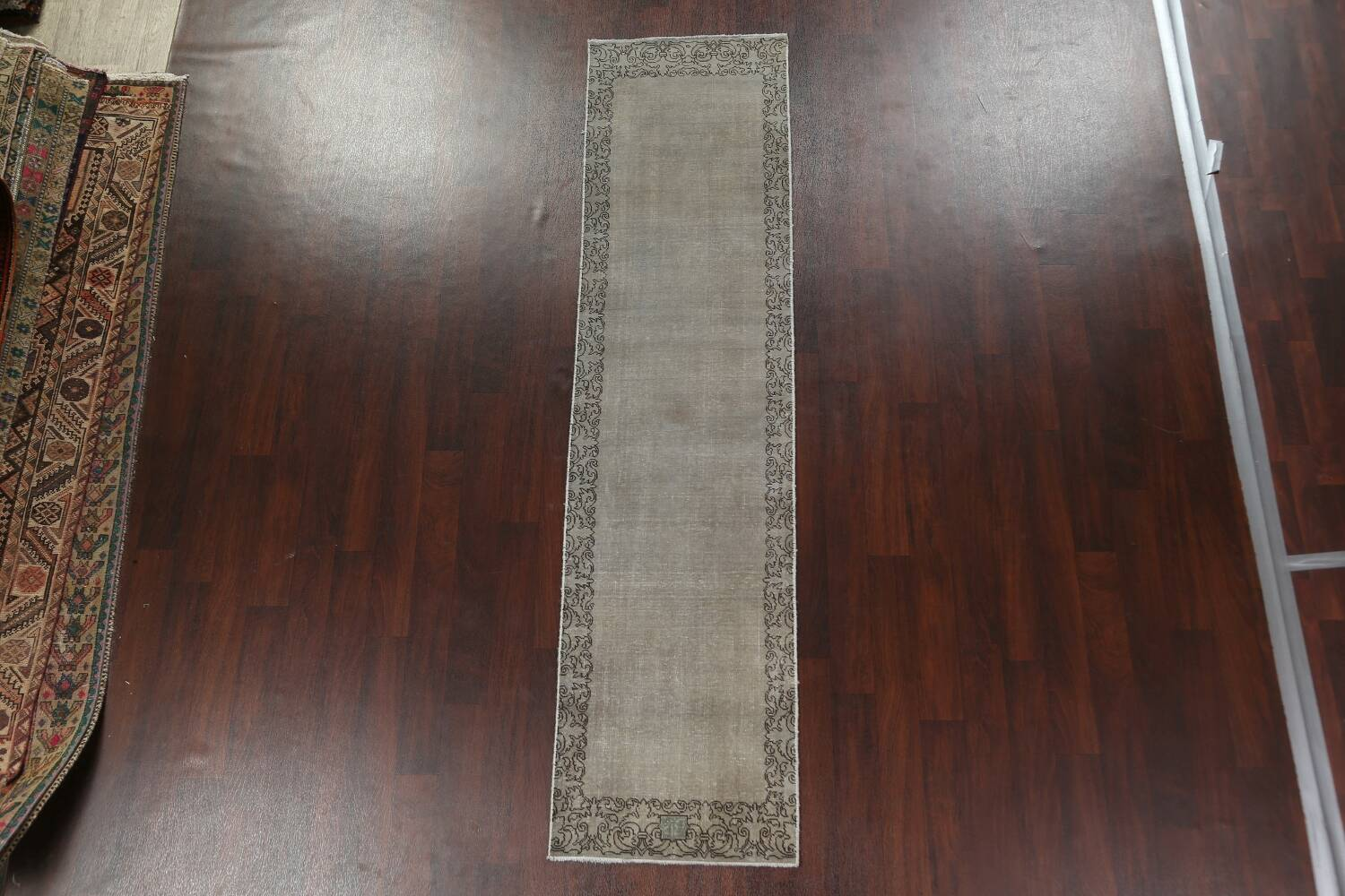 Distressed Over-Dyed Tabriz Persian Runner Rug 2x9 image 3