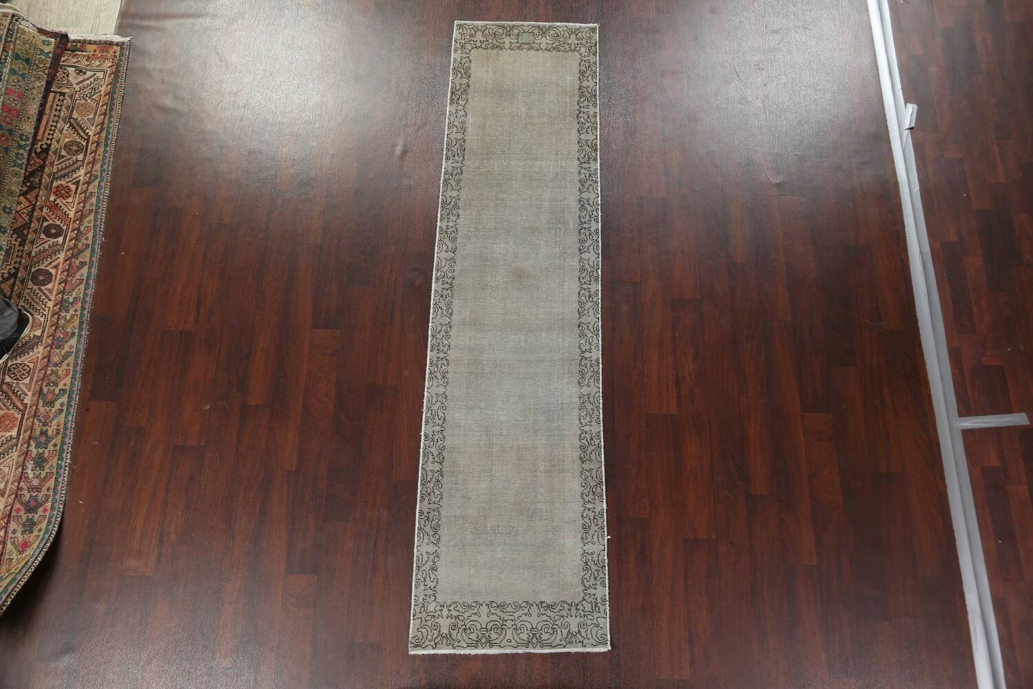 Distressed Over-Dyed Tabriz Persian Runner Rug 2x9 image 14