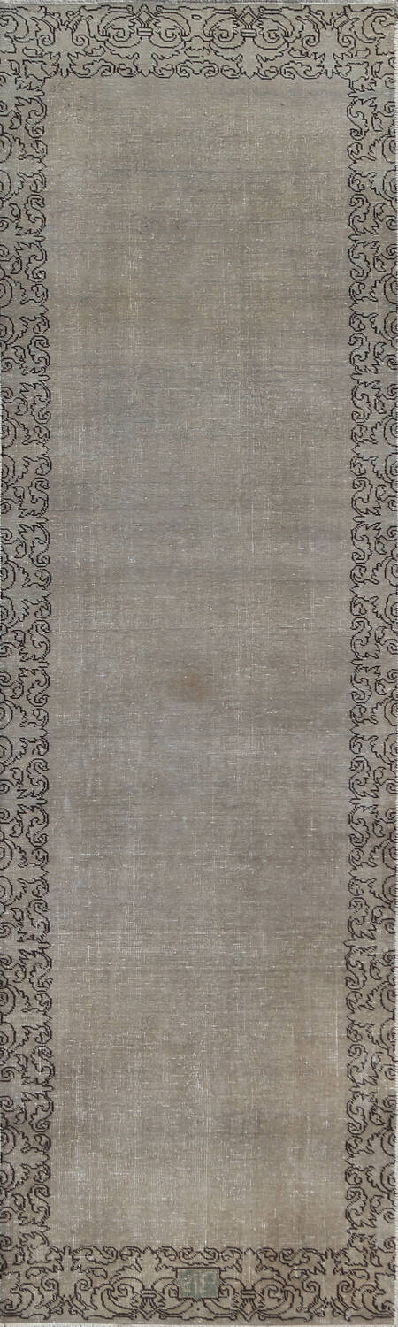 Distressed Over-Dyed Tabriz Persian Runner Rug 2x9 image 1