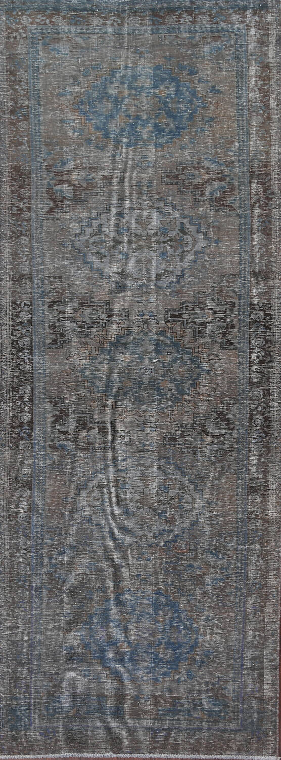 Antique Over-Dyed Ardebil Persian Runner Rug 3x9 image 1