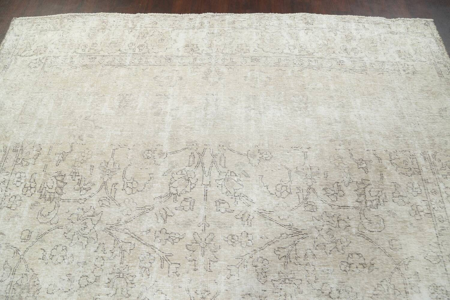 Muted Distressed Tabriz Persian Area Rug 9x11 image 12