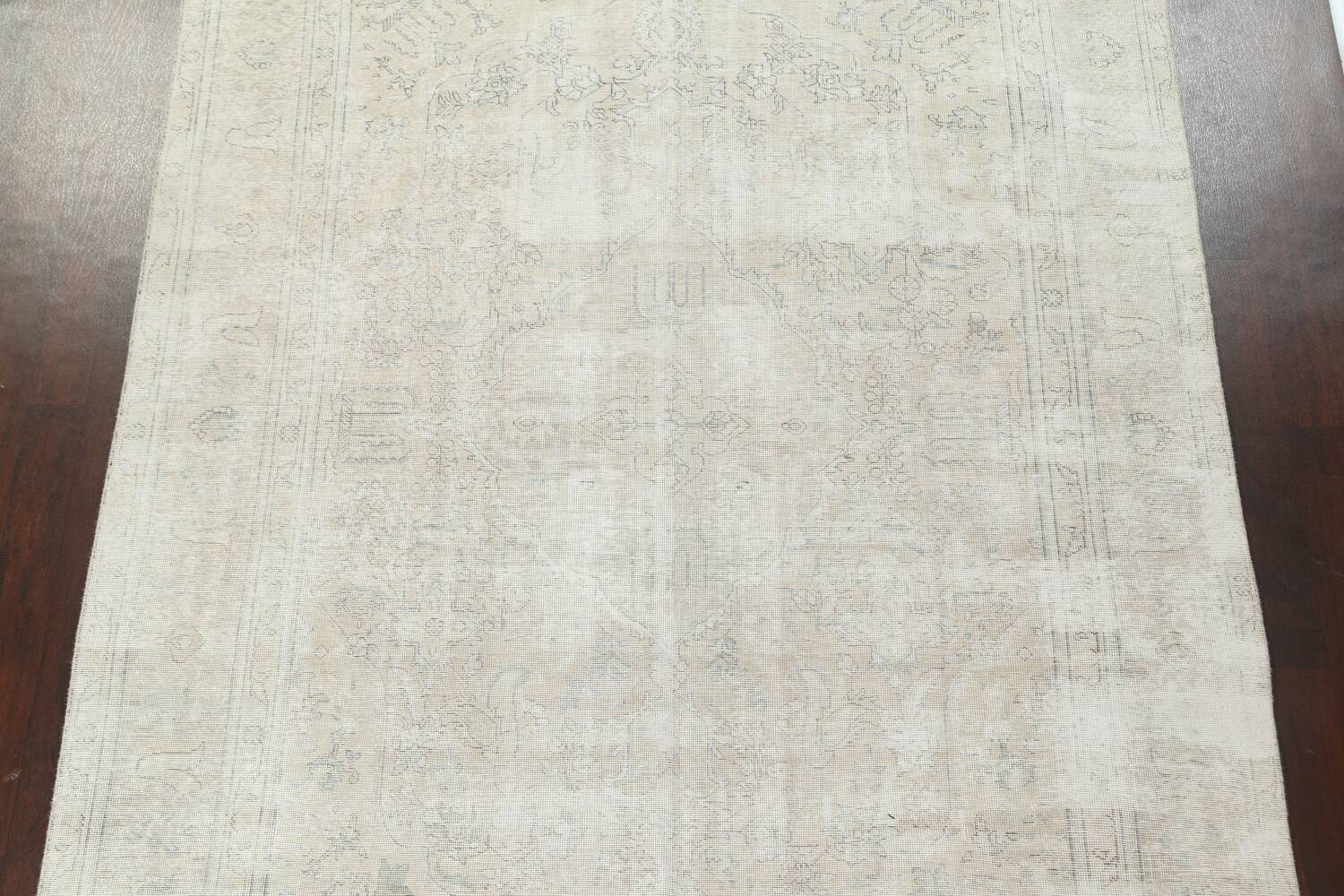 Antique Muted Distressed Tabriz Persian Area Rug 8x11 image 4
