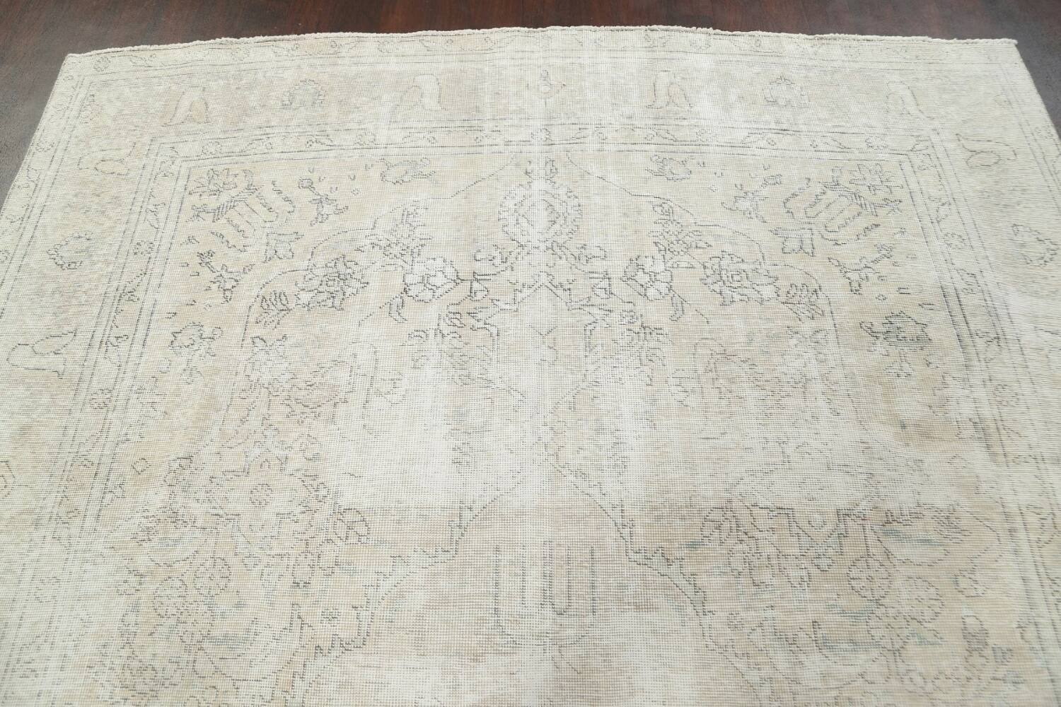 Antique Muted Distressed Tabriz Persian Area Rug 8x11 image 10
