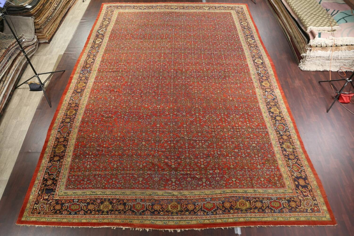 Pre-1900 Antique Vegetable Dye Sultanabad Persian Rug 15x22 image 3