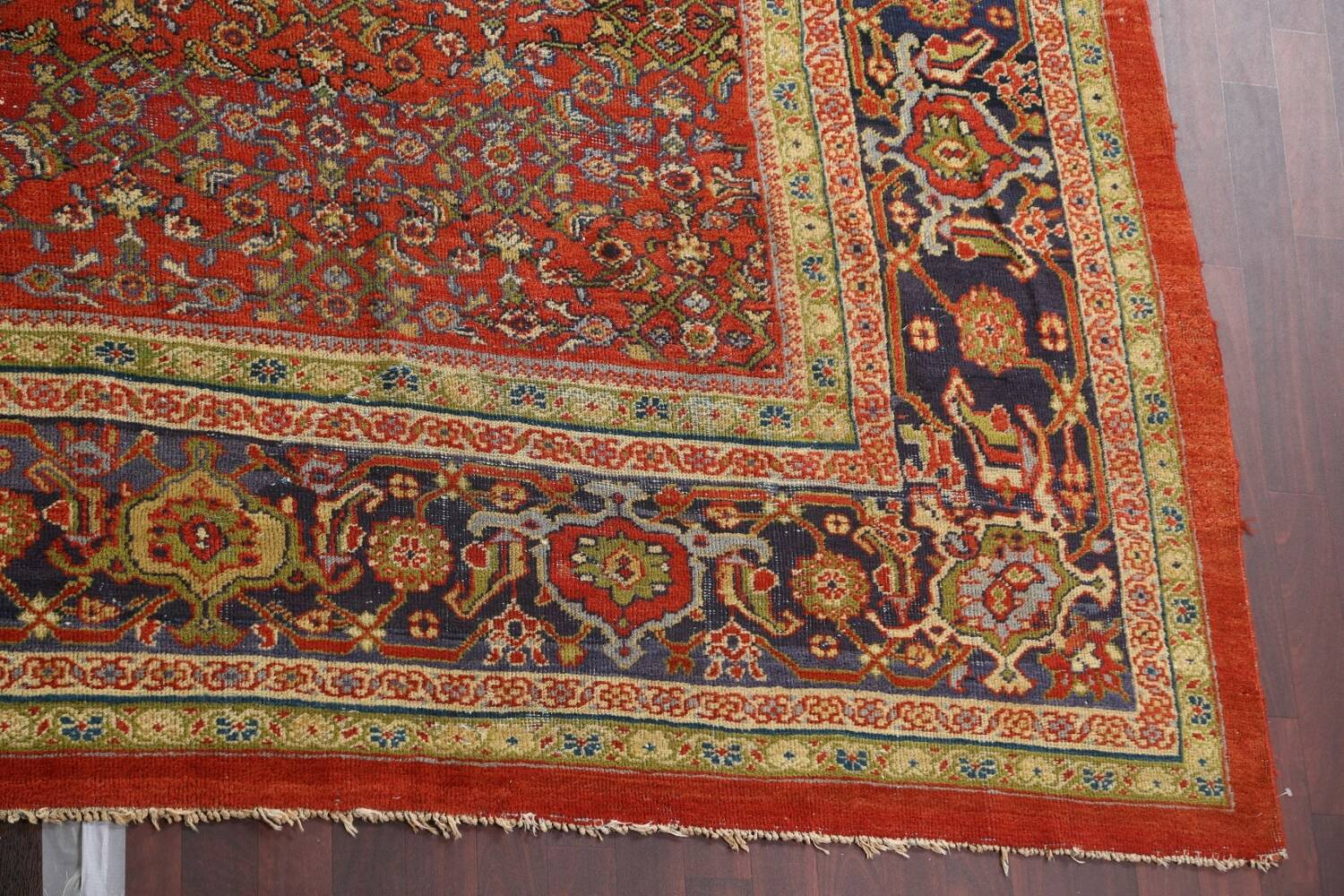 Pre-1900 Antique Vegetable Dye Sultanabad Persian Rug 15x22 image 7