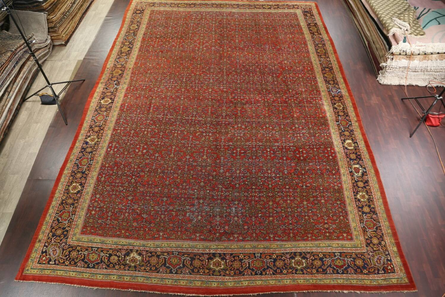 Pre-1900 Antique Vegetable Dye Sultanabad Persian Rug 15x22 image 15