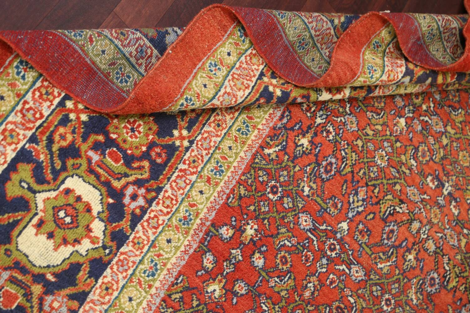 Pre-1900 Antique Vegetable Dye Sultanabad Persian Rug 15x22 image 17