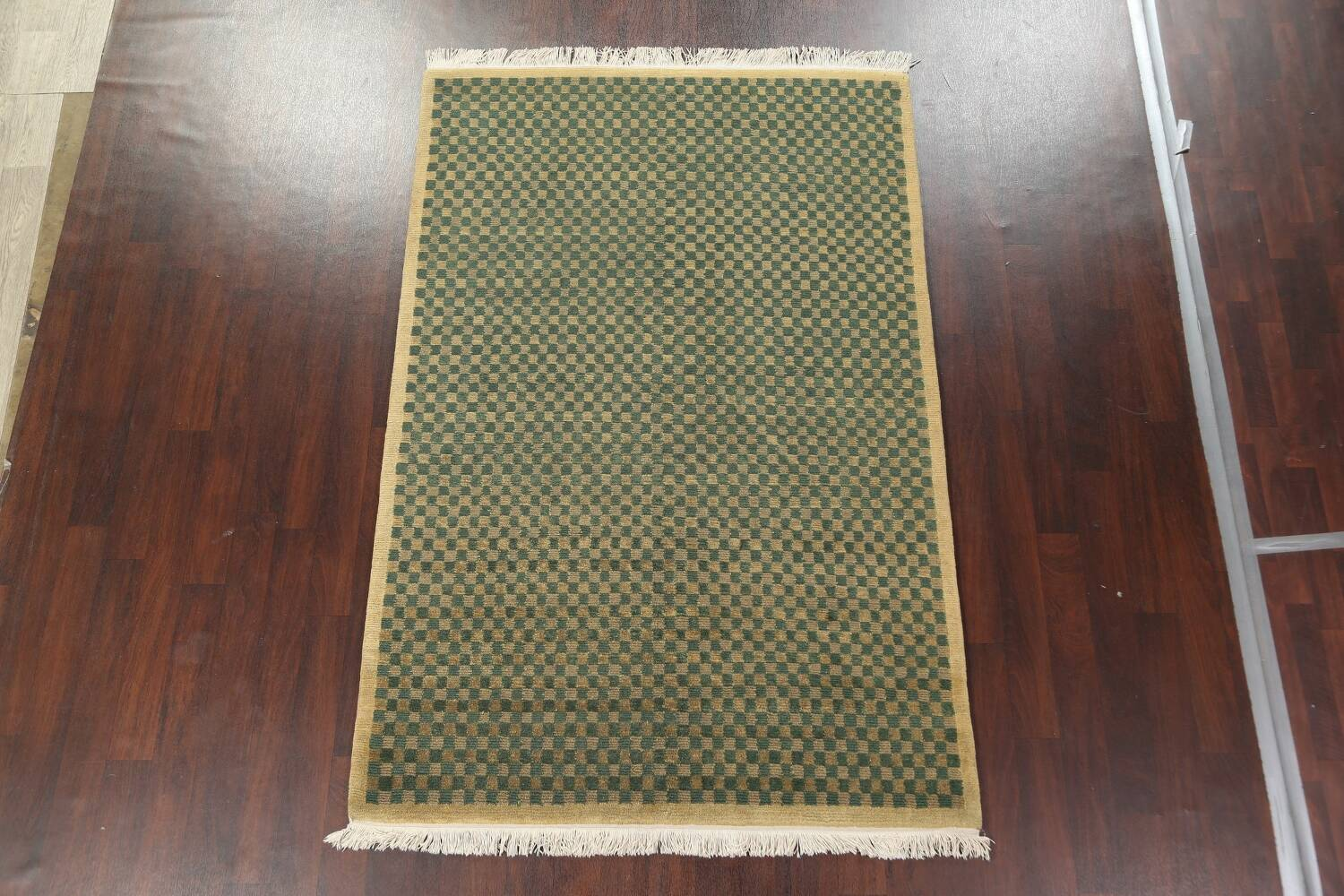 Green/ Gold Checkered Nepalese Wool Area Rug 6x9 image 3