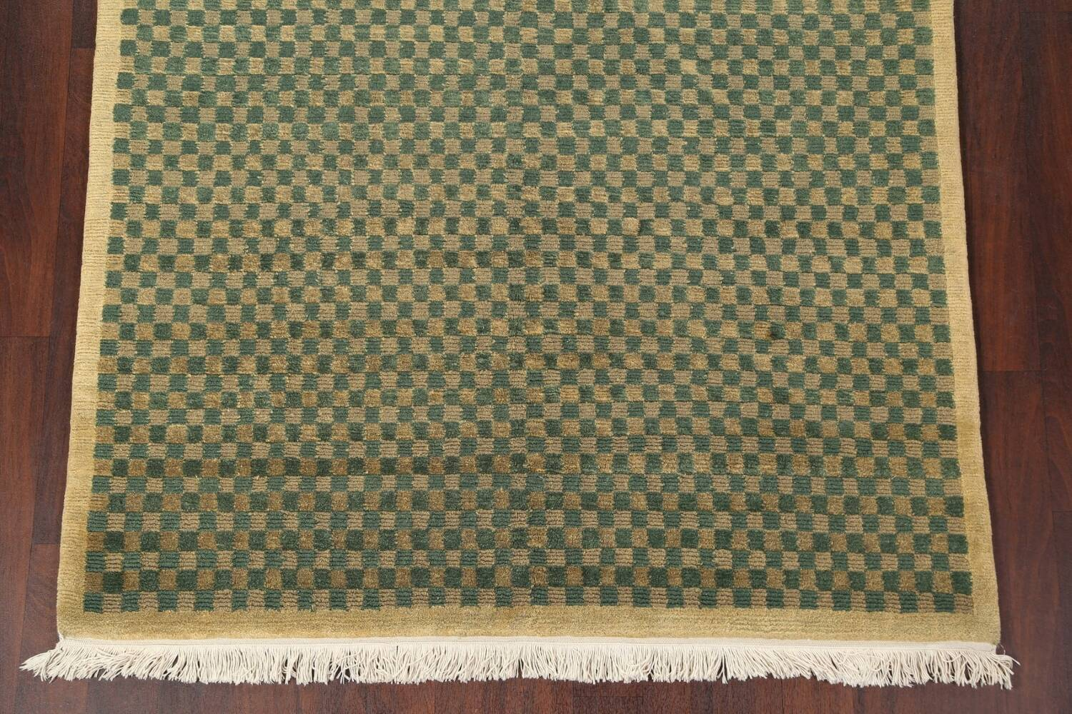 Green/ Gold Checkered Nepalese Wool Area Rug 6x9 image 6